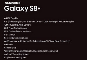 Samsung Galaxy S8 + : Full spec sheet reveals 2 different Displays